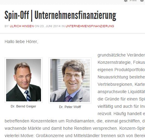 Spin-off Unternehmensfinanzierung